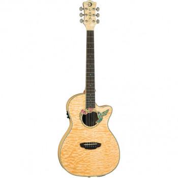 """Luna FAU HUM- электроакустическая гитара,cut,клен,цвет натур, рисунок """"колибри"""""""