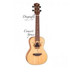 Luna UKE DFY SPR - укулеле концертная,ель,цв. натур.матовый чехол в комплекте