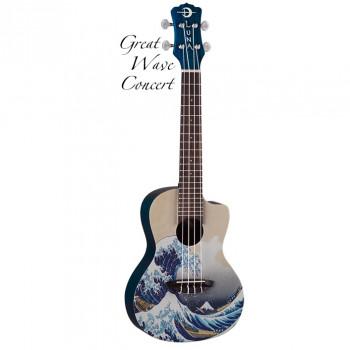 """Luna UKE GWC - укулеле, концерт, чехол в комплекте,рисунок """"Большая волна"""" художника Хокусай на деке"""