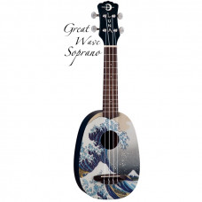 """Luna UKE GWS - укулеле, сопрано, чехол в комплекте,рисунок """"Большая волна"""" художника Хокусай на деке"""