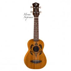 Luna UKE HONU - укулеле, сопрано, чехол в комплекте, коричневая, гавайские узоры