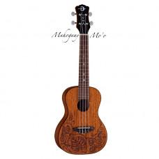 Luna UKE MO MAH - укулеле, концерт, чехол , коричневая, лазерная гравировка - ящерицы и листья