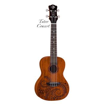 Luna UKE TC MAH - укулеле, концерт, чехол , коричневая, лазерная гравировка - волшебные узоры