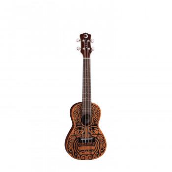 """Luna UKE TRIBAL CONCERT - укулеле, концертное, узор """"Гавайский племенной орнамент"""""""