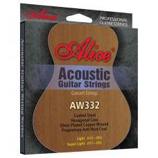 Alice AW332-SL Комплект струн для акустической гитары посеребренная бронза 11-52 [12]