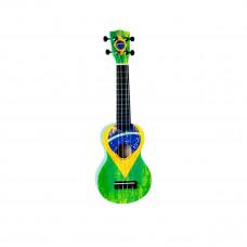 "WIKI UK/BZ -гитара укулеле сопрано, рисунок ""бразильский флаг"", чехол в компл"