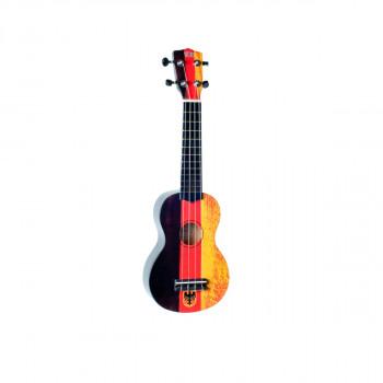 "WIKI UK/DE - гитара укулеле сопрано, липа, рисунок ""немецкий флаг"", чехол в комплекте"