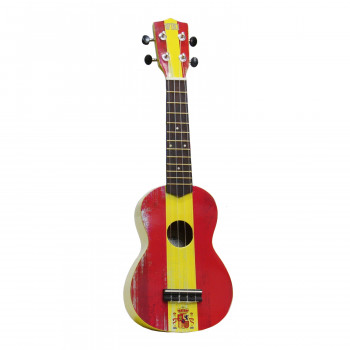 "WIKI UK/ESP - гитара укулеле сопрано, рисунок ""испанский флаг"", чехол в комплекте"