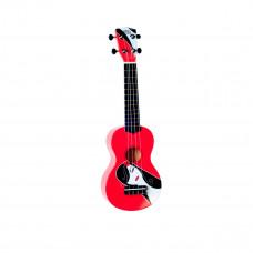"WIKI UK/FATALE - гитара укулеле сопрано липа, рисунок ""роковая девушка"", чехол в комплекте"