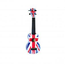 "WIKI UK/GB - гитара укулеле сопрано, липа, рисунок ""британский флаг"", чехол в комплекте"