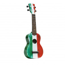 "WIKI UK/IT - гитара укулеле сопрано, рисунок ""итальянский флаг"", чехол в комплекте"