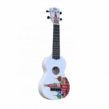 "WIKI UK/KREMLIN - гитара укулеле, сопрано, липа, рисунок ""КРЕМЛЬ"", чехол в комплекте."