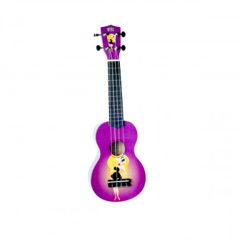 "WIKI UK/PINUP - гитара укулеле сопрано, липа, рисунок ""кинозвезда"", чехол в компл."