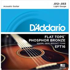 D`Addario EFT16 FLAT TOPS Струны для акустической гитары фосфорная бронза 12-53 D`Addario