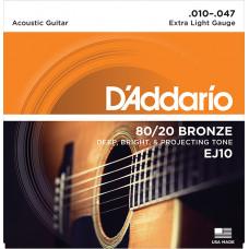 D`Addario EJ10 BRONZE 80/20 Струны для акустической гитары бронза Extra Light 10-47 D`Addario