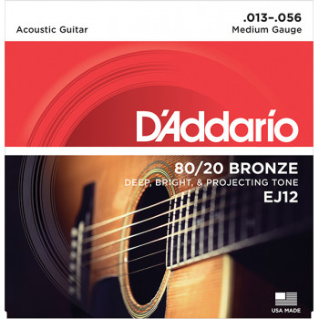 D`Addario EJ12 BRONZE 80/20 Струны для акустической гитары бронза Medium 13-56 D`Addario