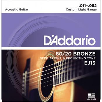 D`Addario EJ13 BRONZE 80/20 Струны для акустической гитары бронза Custom Light 11-52 D`Addario
