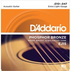 D`Addario EJ15 PHOSPHOR BRONZE Струны для акустической гитары фосфорная бронза Extra Light 10-47 D`Addario