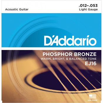 D`Addario EJ16 PHOSPHOR BRONZE Струны для акустической гитары фосфорная бронза Light 12-53 D`Addario
