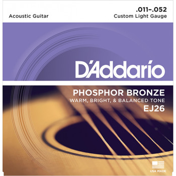 D`Addario EJ26 PHOSPHOR BRONZE Струны для акустической гитары фосфорная бронза Custom Light 11-52 D`Addario