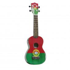 "WIKI UK/PTL - гитара укулеле сопрано, рисунок ""португальский флаг"", чехол в комплекте"