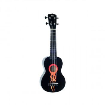 "WIKI UK/RACING FLAMES - гитара укулеле сопрано, липа, рисунок ""пламя"", чехол в комплекте"