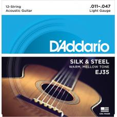 D`Addario EJ35 SILK&STEEL Струны для акустической 12-струнной гитары посеребренные сталь&шелк 11-47 D`Addario