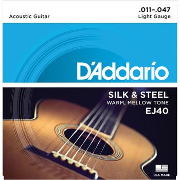 D`Addario EJ40 SILK&STEEL Струны для акустической гитары посеребренные сталь и шелк 11-47 D`Addario