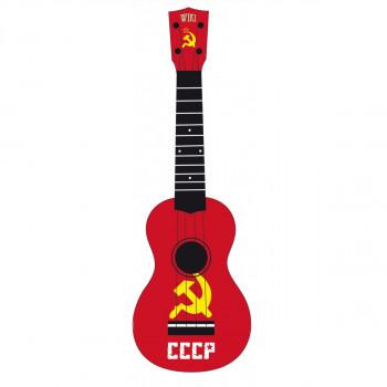 "WIKI UK/REBEL/CCCP - гитара укулеле сопрано, липа, рисунок ""флаг СССР"", чехол в компл."
