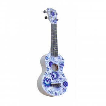 "WIKI UK/RUS/GZHEL- гитара укулеле,  сопрано, липа, рисунок ""ГЖЕЛЬ"", чехол в комплекте."