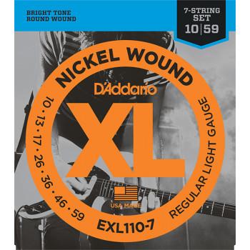 D`Addario EXL110-7 XL NICKEL WOUND Струны для 7-струнной электрогитары Regular Light 7-string 10-59 D`Addario