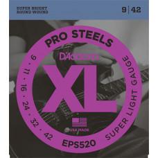 D`Addario EPS520 XL PRO STEEL Струны для электрогитары Super Light 9-42 D`Addario