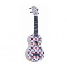 """WIKI UK/SLAVE - гитара укулеле,  сопрано, липа, рисунок """"Славянский узор"""", чехол в комплекте."""