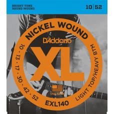 D`Addario EXL140 XL NICKEL WOUND Струны для электро-гитары Light Top/Heavy Bottom 10-52 D`Addario
