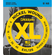 D`Addario EXL125 XL NICKEL WOUND Струны для электрогитары Super Light Top/Regular Bottom 9-46 D`Addario