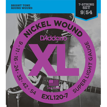 D`Addario EXL120-7 XL NICKEL WOUND Струны для 7-струнной электрогитары Super Light 7-String 9-52 D`Addario