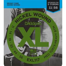 D`Addario EXL117 XL NICKEL WOUND Струны для электрогитары Meduim Top/Extra Heavy Bottom 11-56 D`Addario