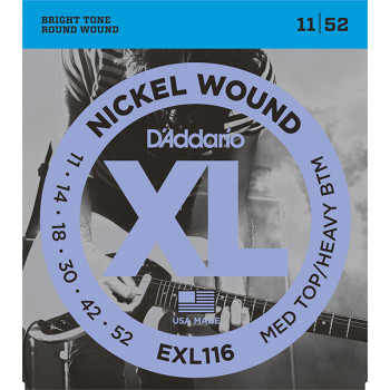 D`Addario EXL116 XL NICKEL WOUND Струны для электрогитары Meduim Top/Heavy Bottom 11-52 D`Addario