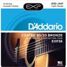 D`Addario EXP36 COATED 80/20 Струны для 12-струнной акустической гитары 12-String Extra Light10-47 D`Addario
