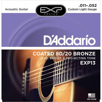D`Addario EXP13 COATED 80/20 Струны для акустической гитары Custom Light 11-52 D`Addario