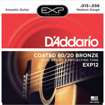 D`Addario EXP12 COATED 80/20 Струны для акустической гитары Medium 13-56 D`Addario