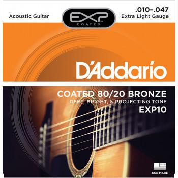 D`Addario EXP10 COATED 80/20 Струны для акустической гитары Extra Light10-47 D`Addario