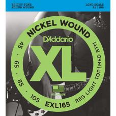 D`Addario EXL165 XL NICKEL WOUND Струны для бас-гитары Long Regular Ligth Top Medium Bottom 45-105 D`Addario