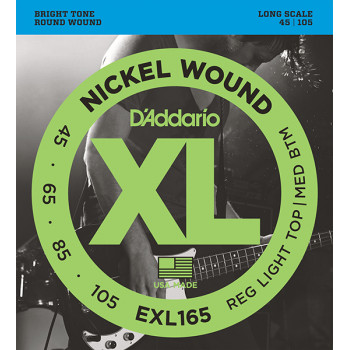 D`Addario EXL165 XL NICKEL WOUND Струны для бас-гитары Long Regular Ligth Top Medium Bottom 45-105 D`Addario