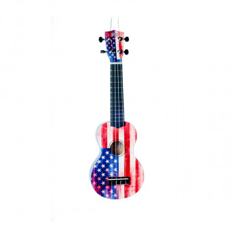 WIKI UK/US - гитара укулеле сопрано, липа, изображение флага США, чехол в комплекте