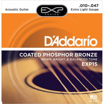 D`Addario EXP15 COATED PHOSPHOR BRONZE Струны для акустической гитары Extra Light 10-47 D`Addario