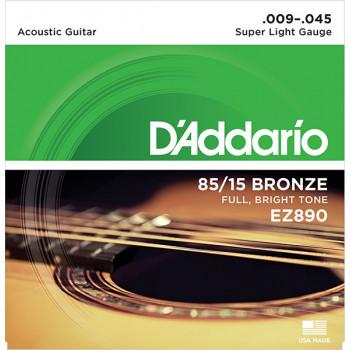 D`Addario EZ890 AMERICAN BRONZE 85/15 Струны для акустической гитары Super Light 9-45 D`Addario