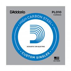 """D`Addario PL010 PLAIN STEEL Отдельная стальная струна без обмотки 0.010"""" D`Addario"""