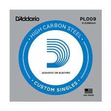 """D`Addario PL009 PLAIN STEEL Отдельная стальная струна без обмотки 0.009"""" D`Addario"""