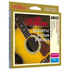 Alice AW432P-SL Комплект струн для акустической гитары медь цветные наконечники 11-52